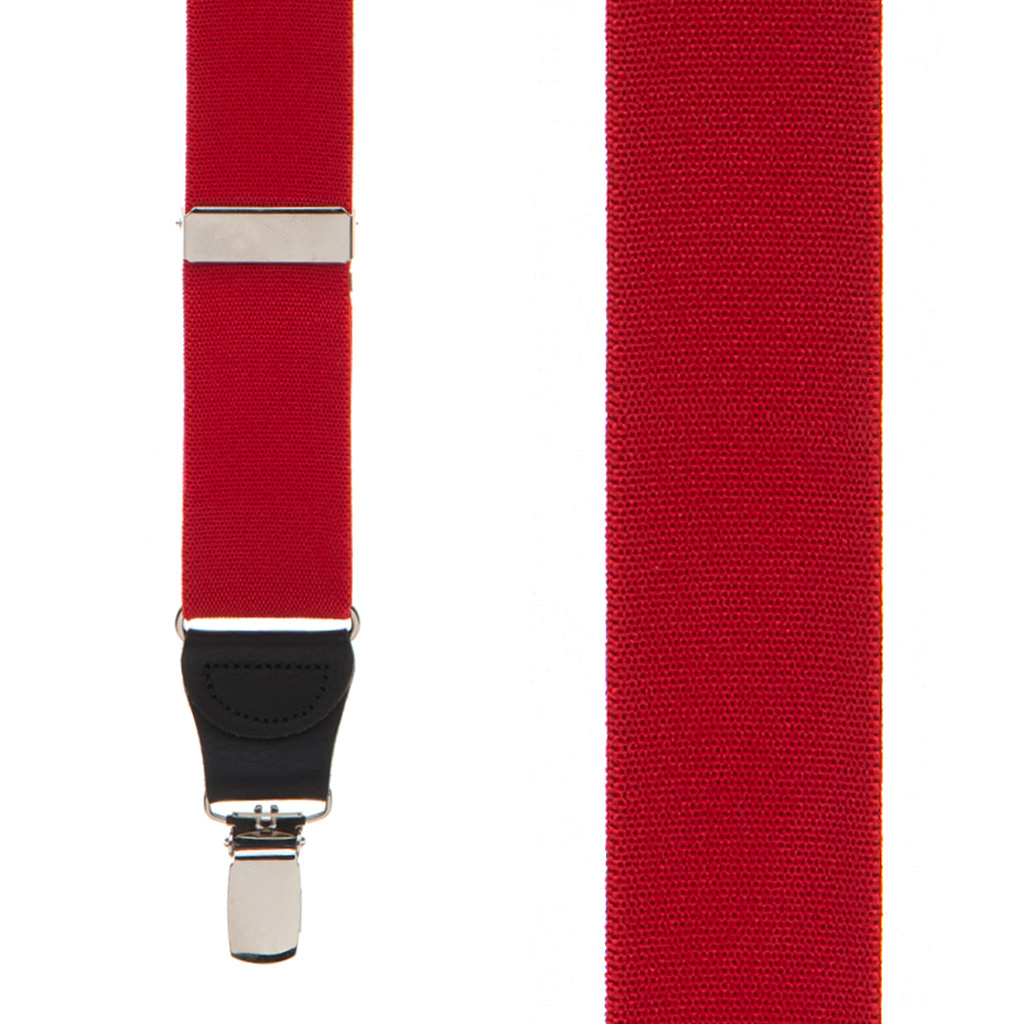 1.25 Inch Wide Y-Back Clip Suspenders - RED