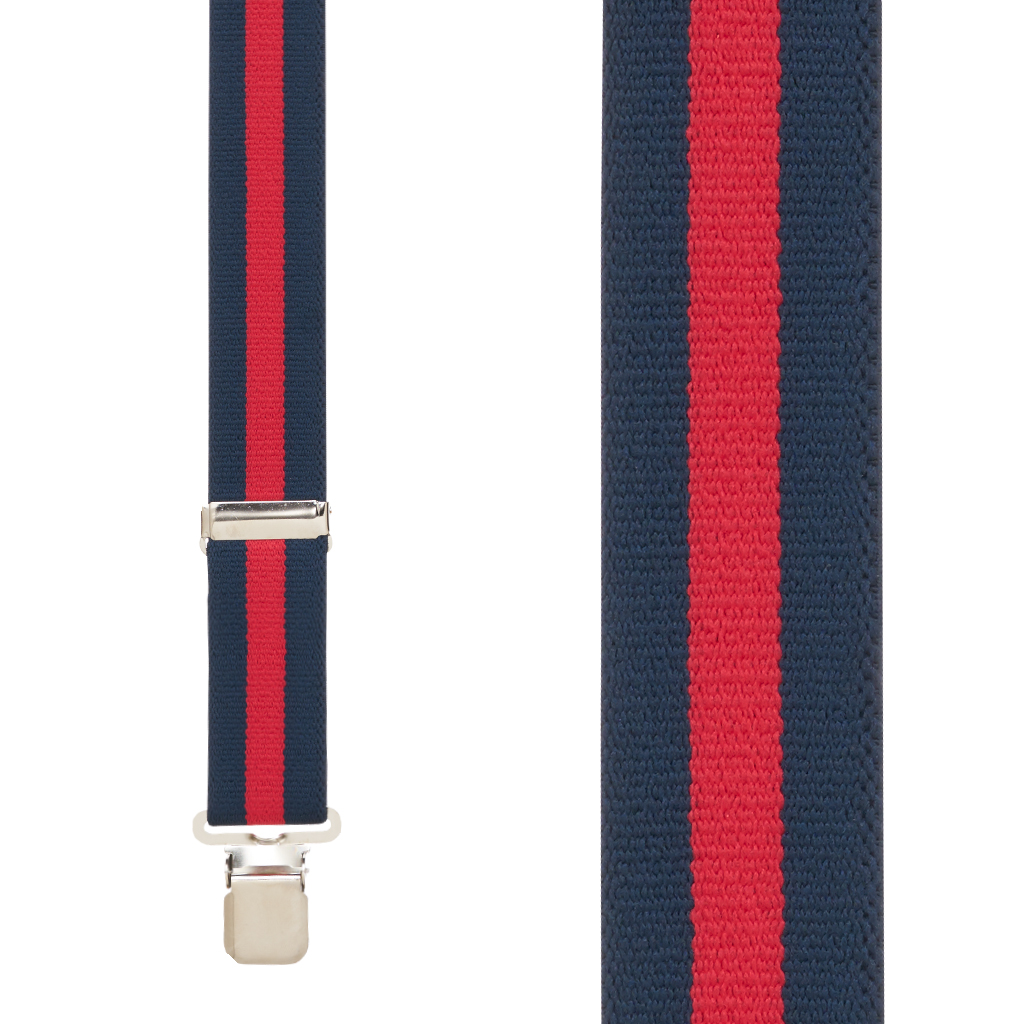 Front View - NAVY/RED STRIPE 1.5 Inch Wide Construction Clip Suspenders