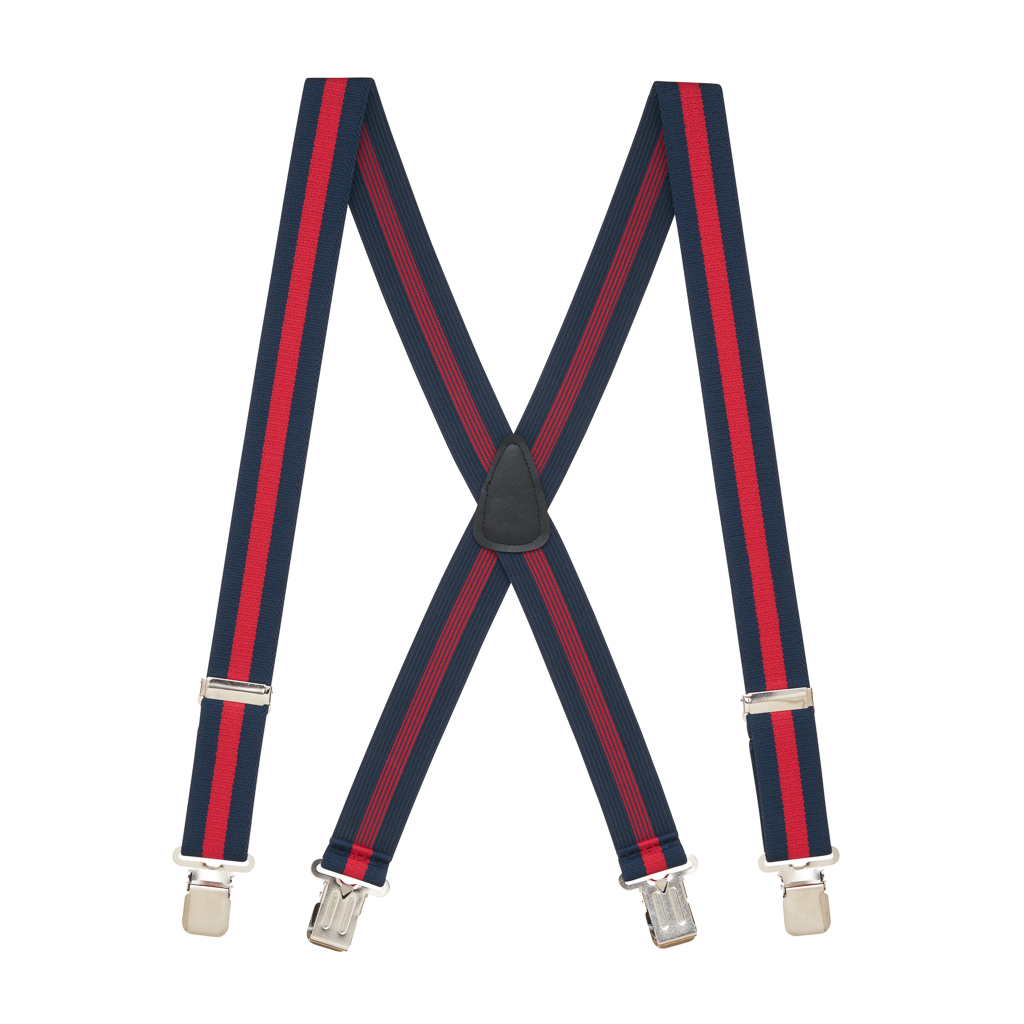 Full View - NAVY/RED STRIPE 1.5 Inch Wide Construction Clip Suspenders
