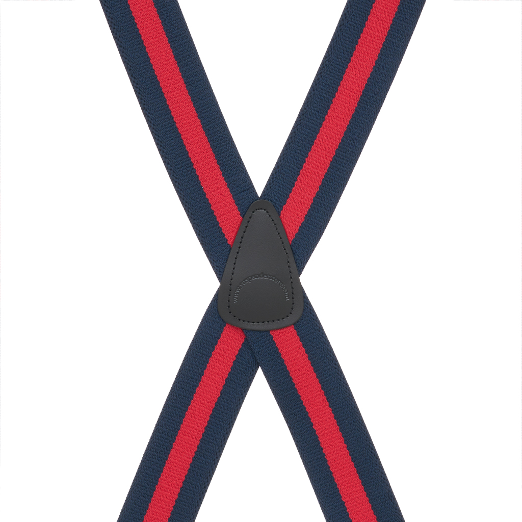 Rear View - NAVY/RED STRIPE 1.5 Inch Wide Construction Clip Suspenders
