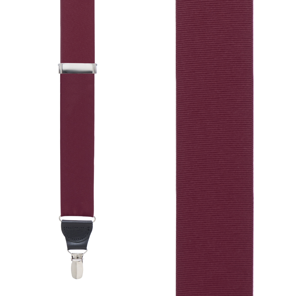 Grosgrain Clip Suspenders in Burgundy - Front View