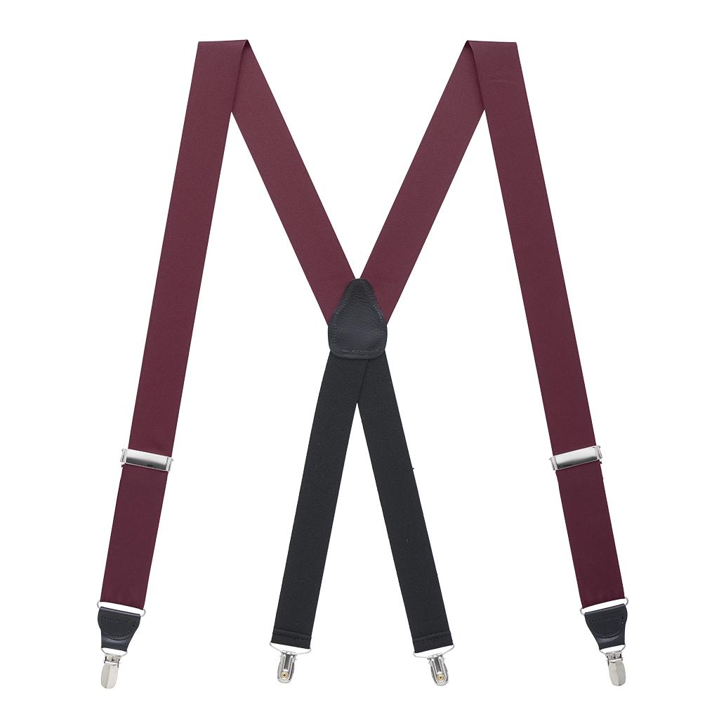 Grosgrain Clip Suspenders in Burgundy - Full View