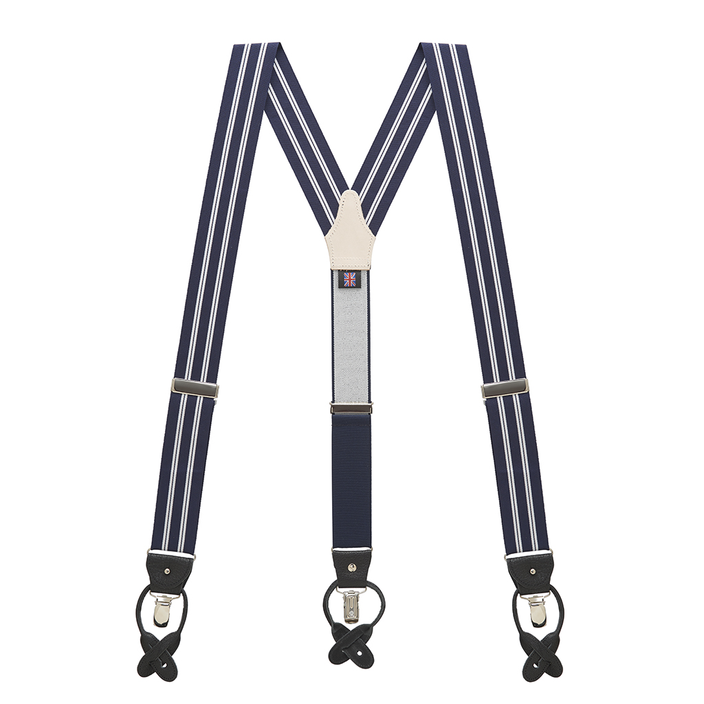 Barathea Striped Suspenders in White & Navy - Full View