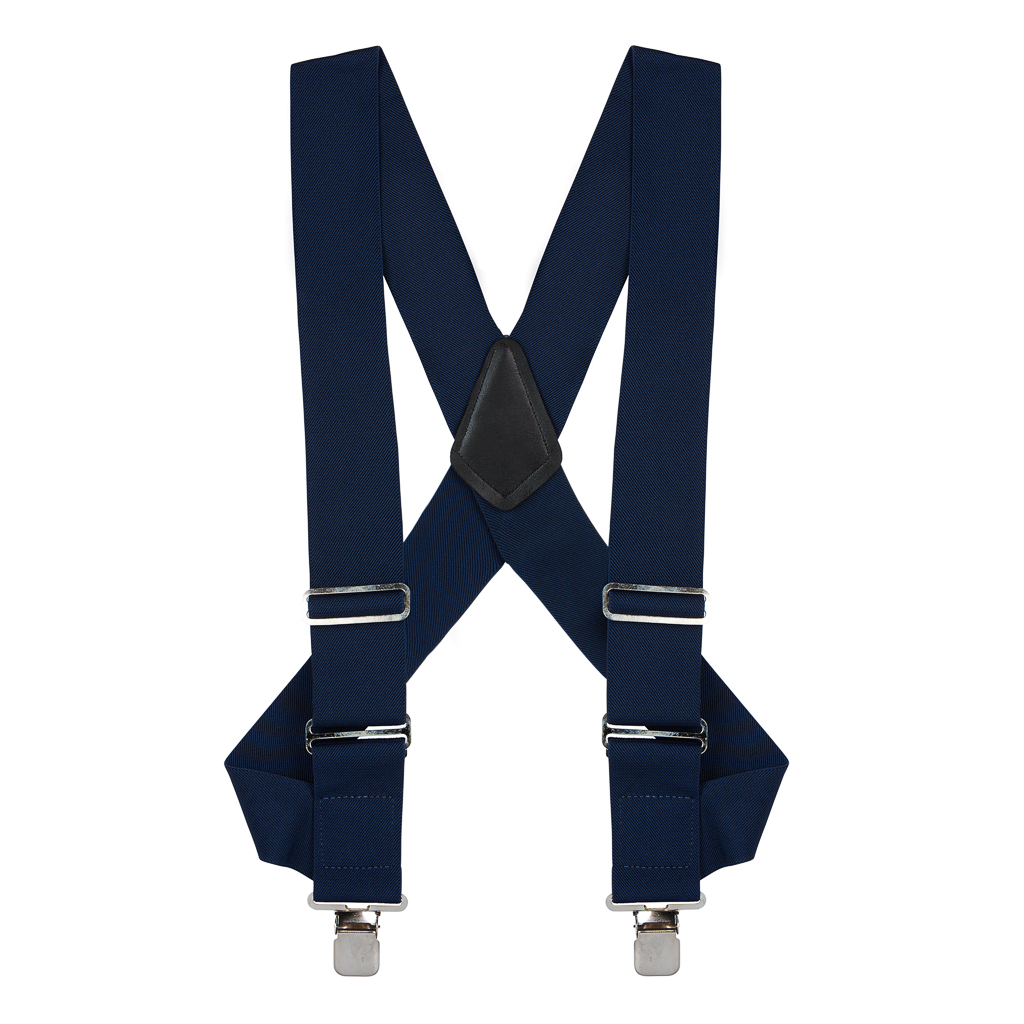 Navy Blue Side Clip Suspenders - Construction Clip - Full View