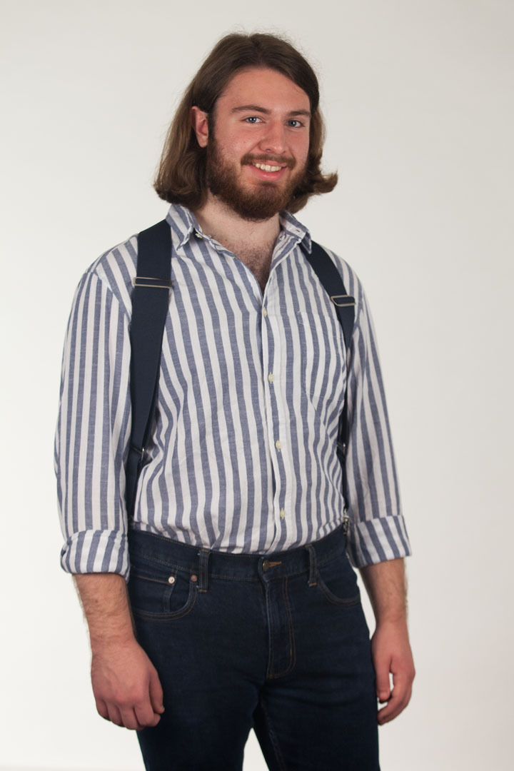 Model Wearing Navy Blue Side Clip Suspenders - Construction Clip - Front View
