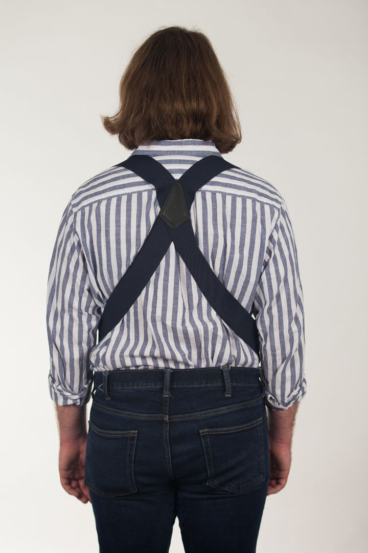 Model Wearing Navy Blue Side Clip Suspenders - Construction Clip - Rear View
