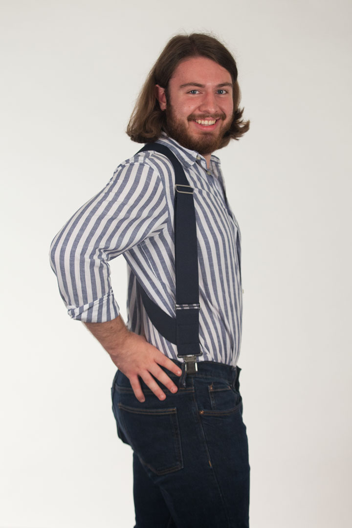 Model Wearing Navy Blue Side Clip Suspenders - Construction Clip - Side View