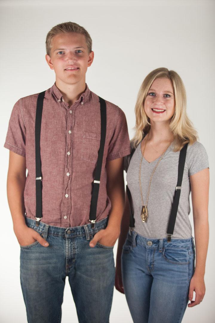 1 Inch Wide (Y-Back) Clip Suspenders - BLACK