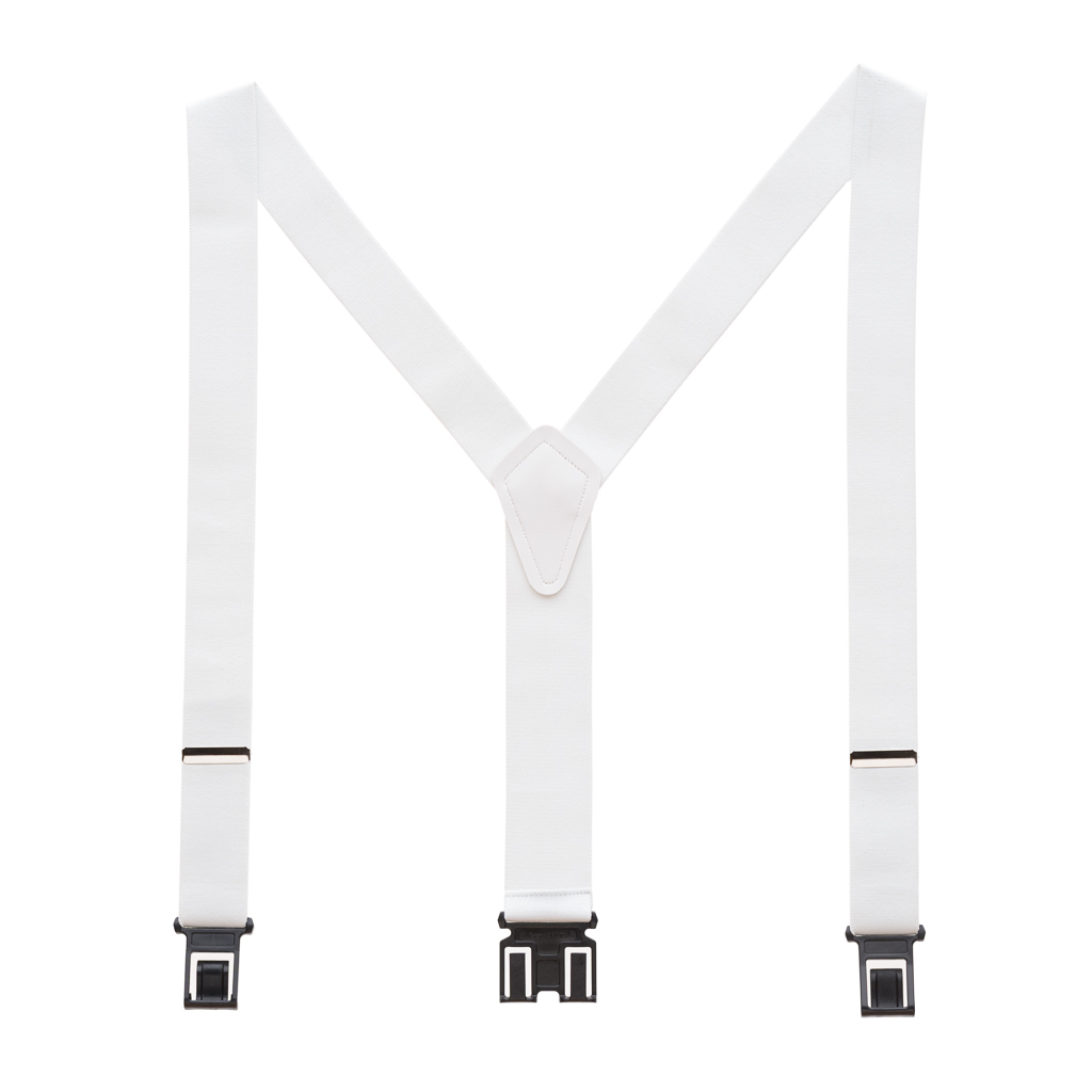 Perry Suspenders - Full View - White 1.5-Inch Wide