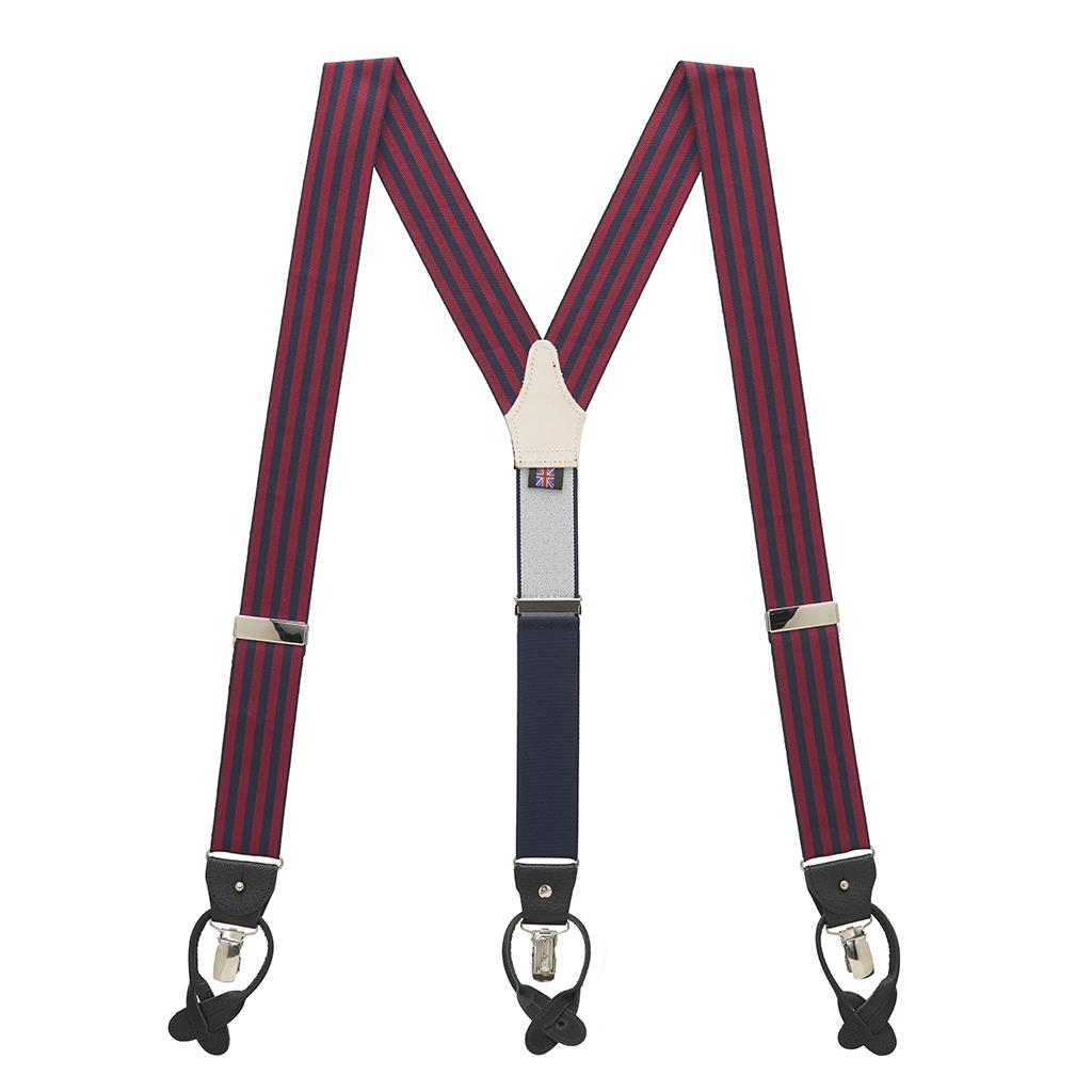 Barathea Equal Stripes Suspenders in Burgundy & Navy - Full View
