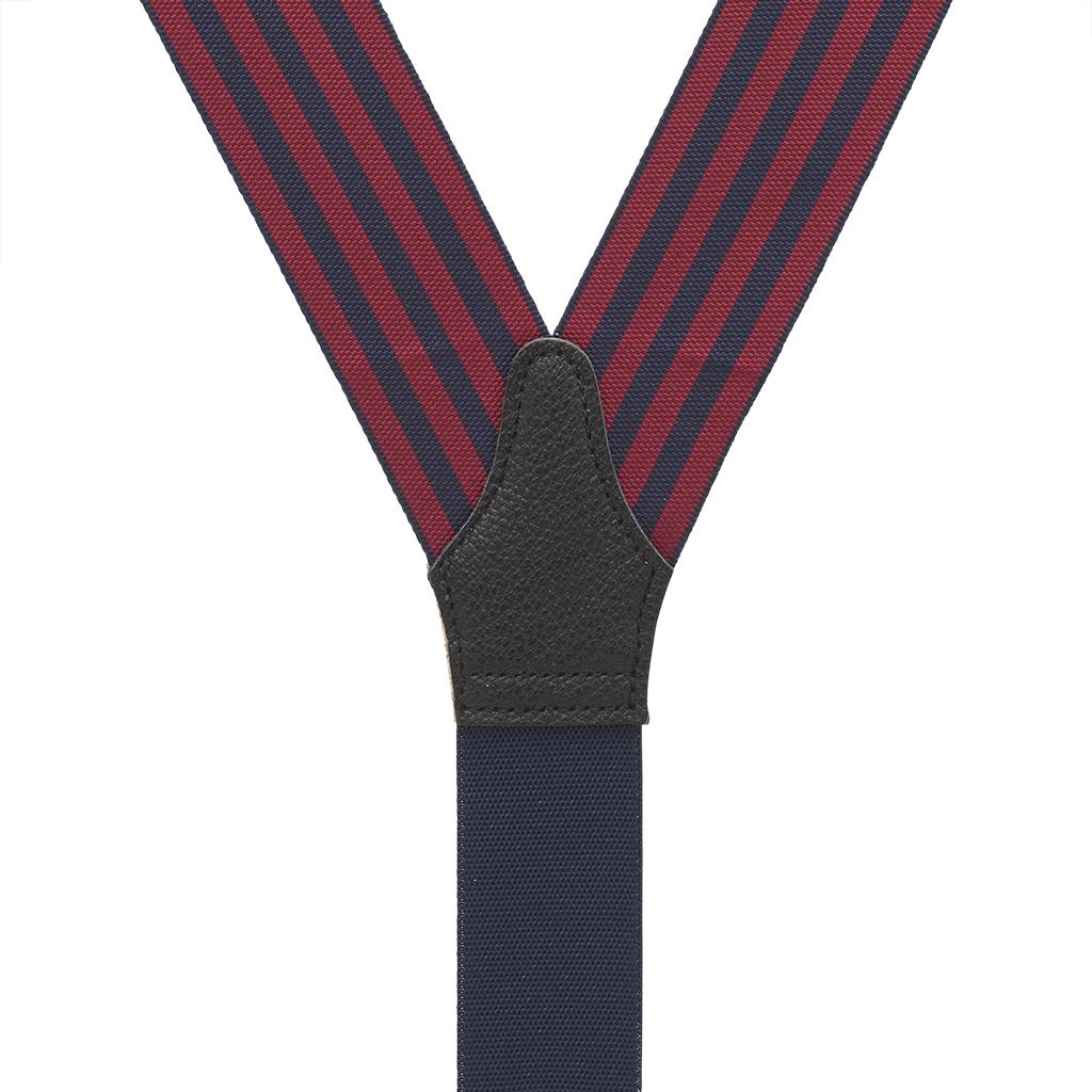 Barathea Equal Stripes Suspenders in Burgundy & Navy - Rear View