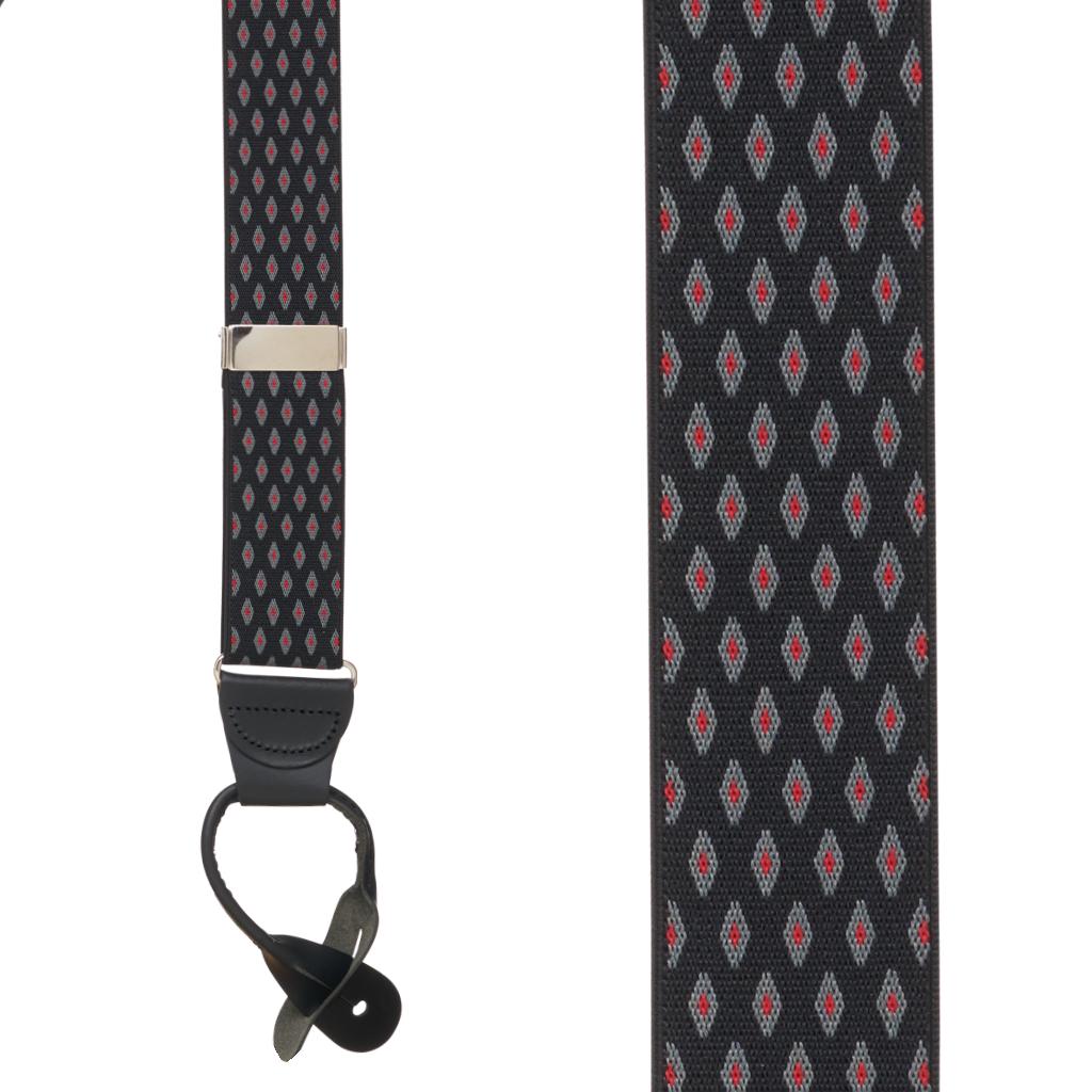 BLACK Jacquard Diamond Burst Suspenders - Button - Front View
