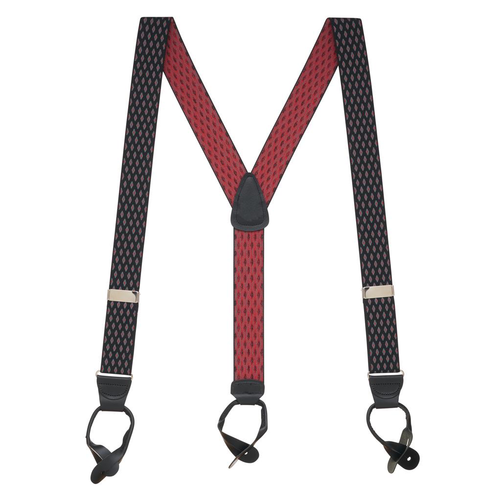 BLACK Jacquard Diamond Burst Suspenders - Button - Full View
