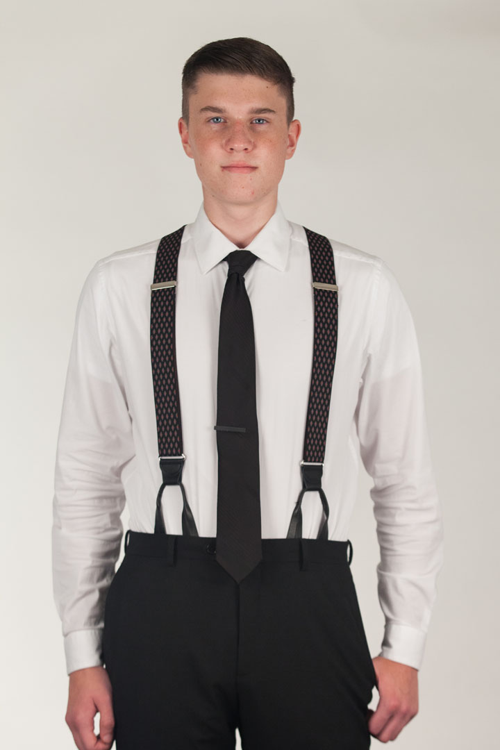 Model Wearing BLACK Jacquard Diamond Burst Suspenders - Button - Front View