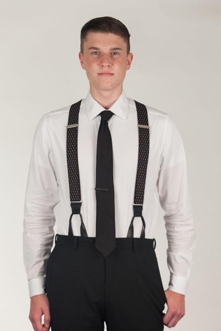 Model Wearing BLACK Jacquard Diamond Burst Suspenders - Button - Front View
