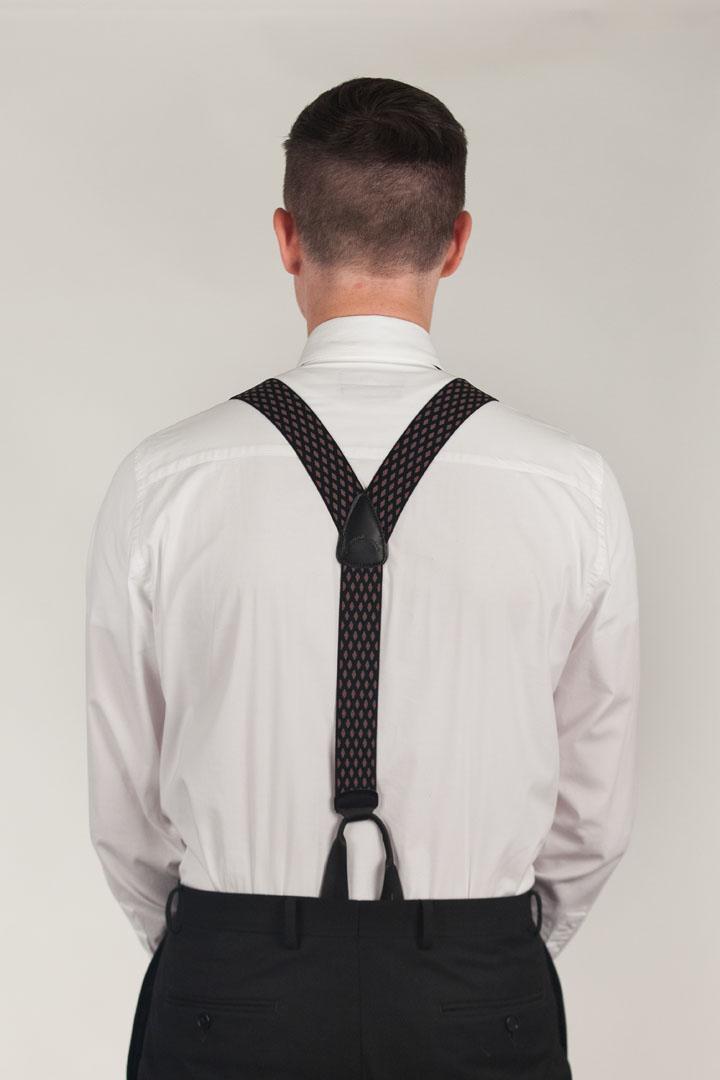 Model Wearing BLACK Jacquard Diamond Burst Suspenders - Button - Rear View