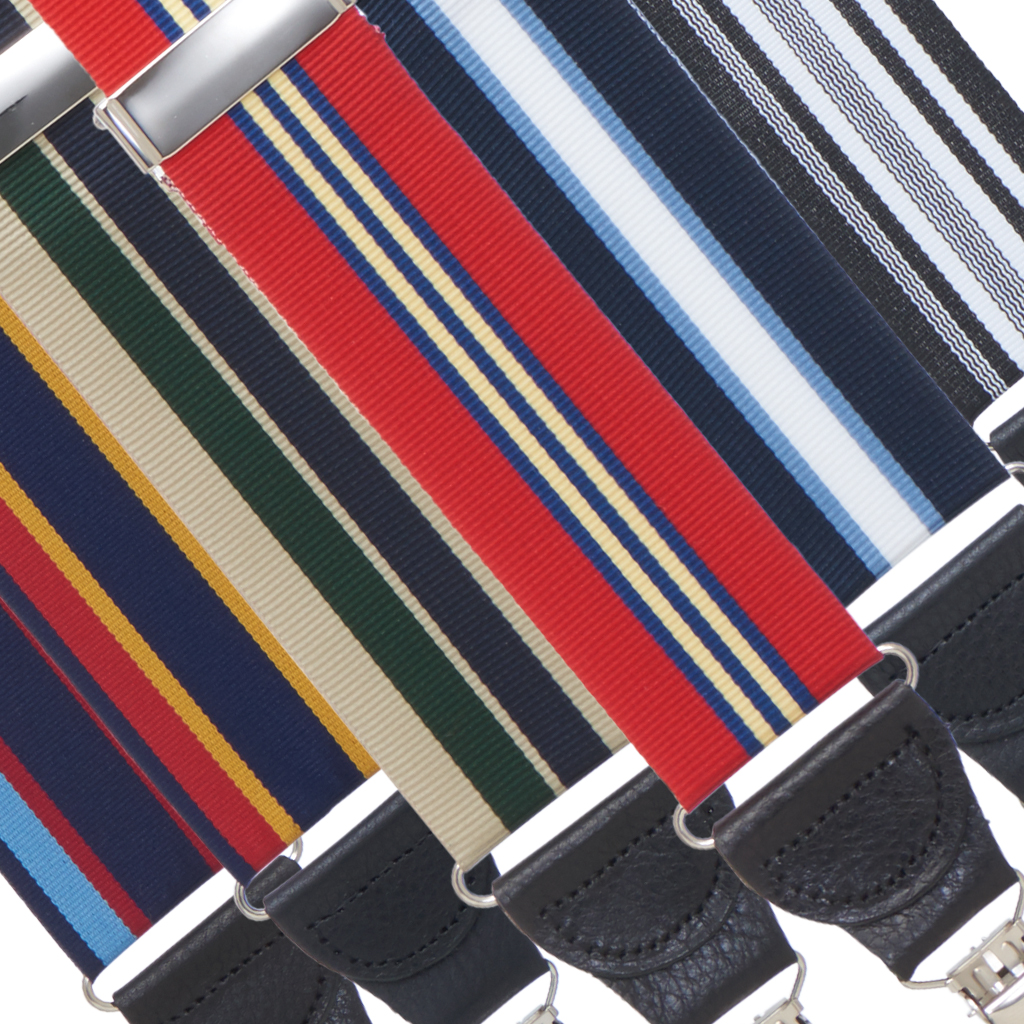 Grosgrain Striped Drop Clip Suspenders