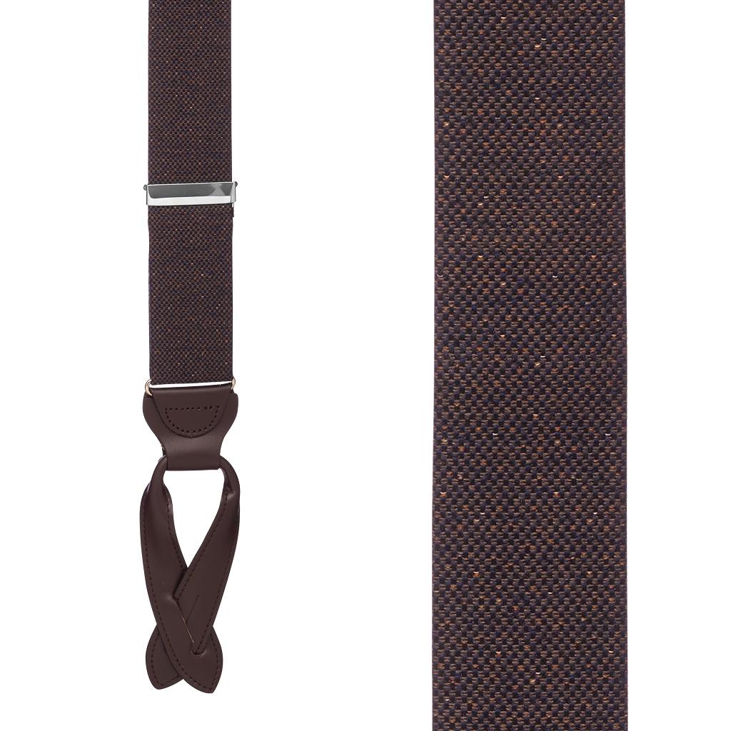 BROWN Canton Silk Tweed Suspenders - Front View