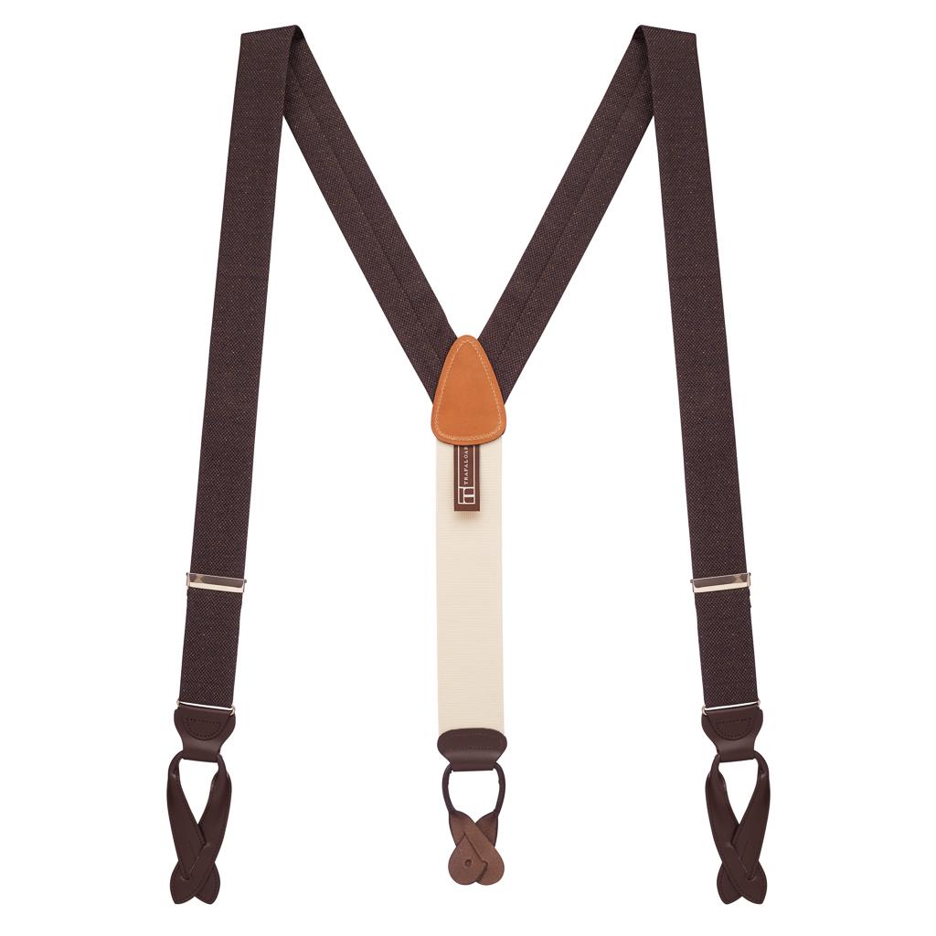 BROWN Canton Silk Tweed Suspenders - Full View