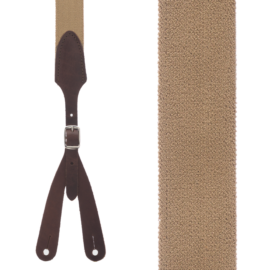 Button Rugged Comfort Suspenders in DESERT - Front View