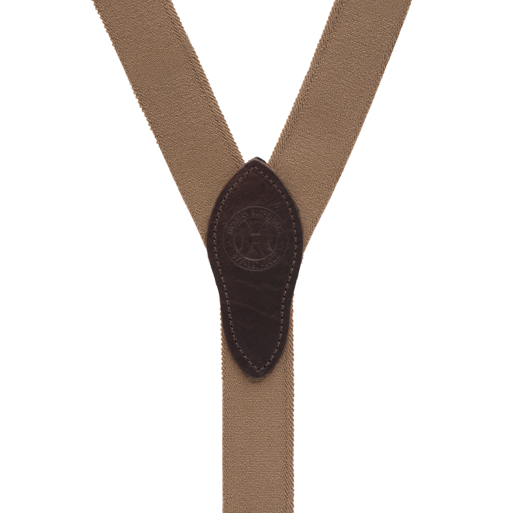 Button Rugged Comfort Suspenders in DESERT - Rear View