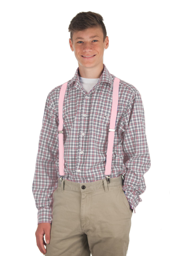 1 Inch Wide Clip Suspenders (X-Back) - LIGHT PINK
