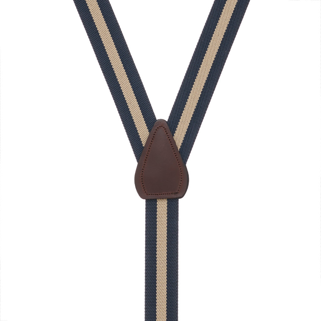 Rear View - 1 Inch Wide Striped Drop Clip Suspenders (Y-Back) - Navy/Khaki Stripe