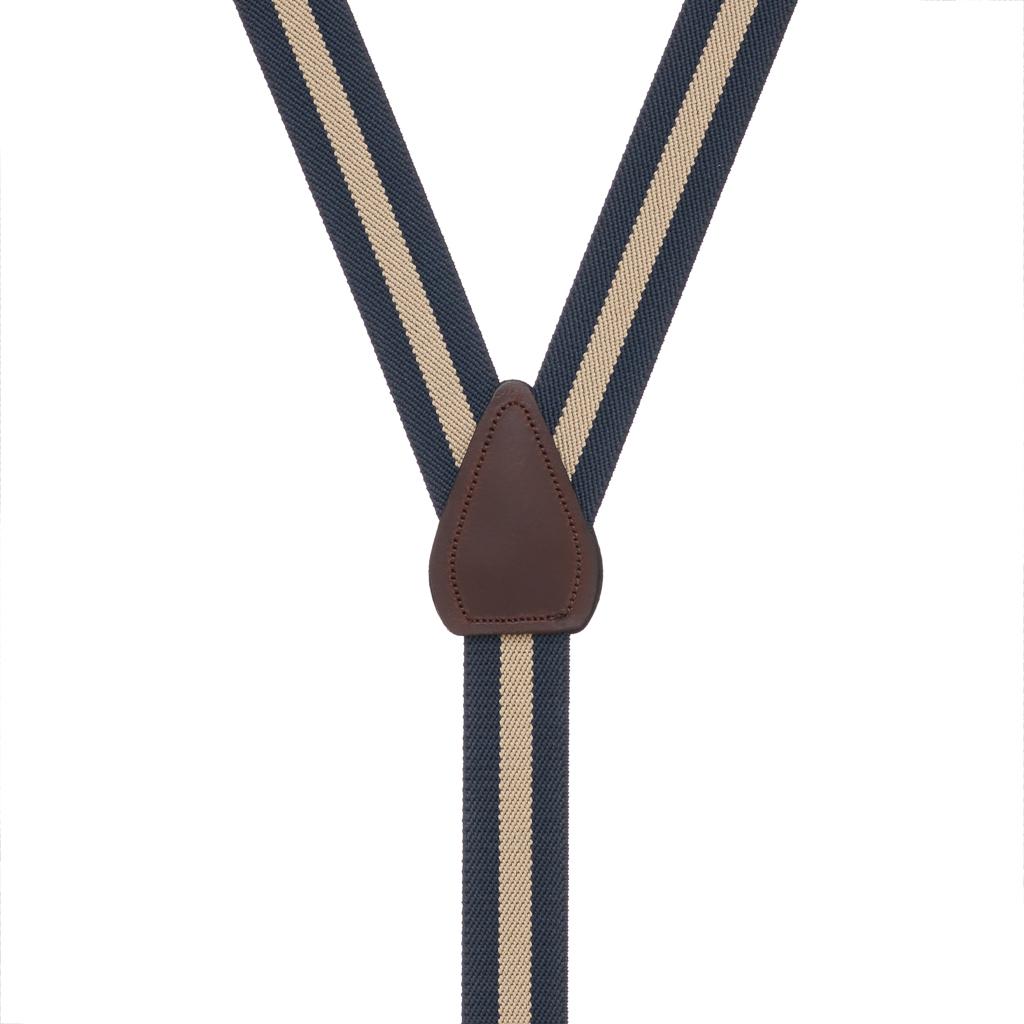 Rear View - 1 Inch Wide Striped Drop Clip Suspenders (Y-Back) - Navy/Khaki Stripe