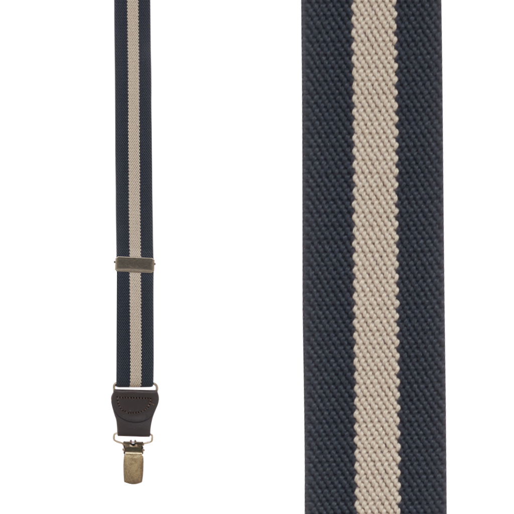 Front View - 1 Inch Wide Striped Drop Clip Suspenders (Y-Back) - Navy/Khaki Stripe