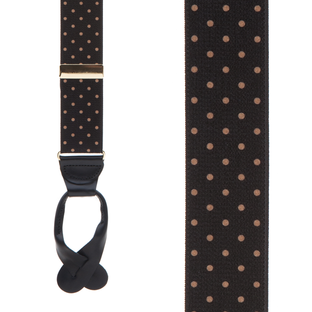 Front View - Polka Dot Suspenders - Khaki on Black 1.5 Inch Wide Button