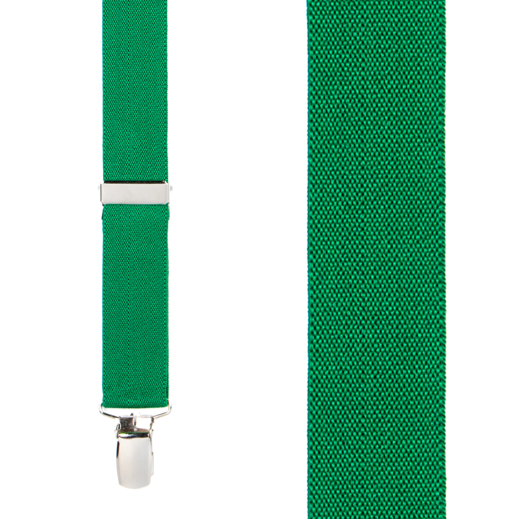 1 Inch Wide Clip X-Back Suspenders in Kelly Green - Front View