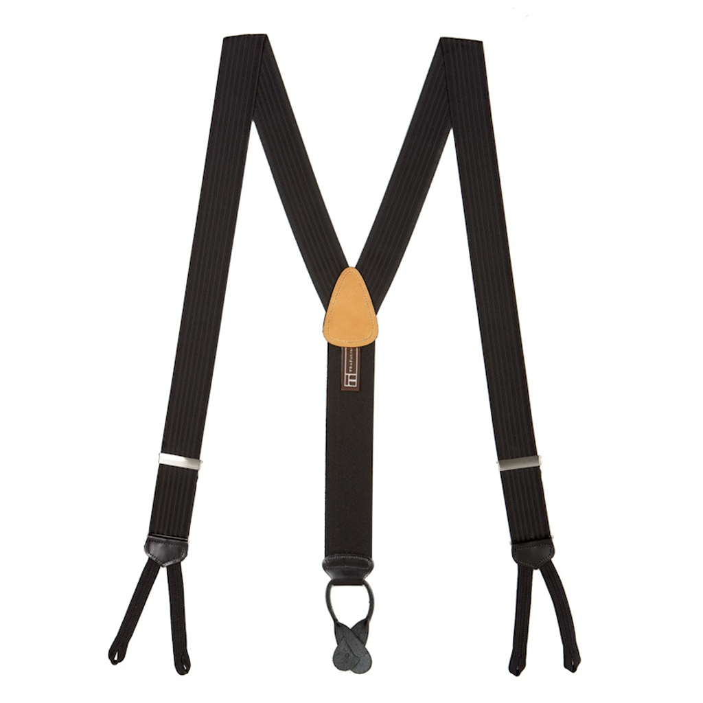 Black Formal Ribbed Suspenders - Runner End