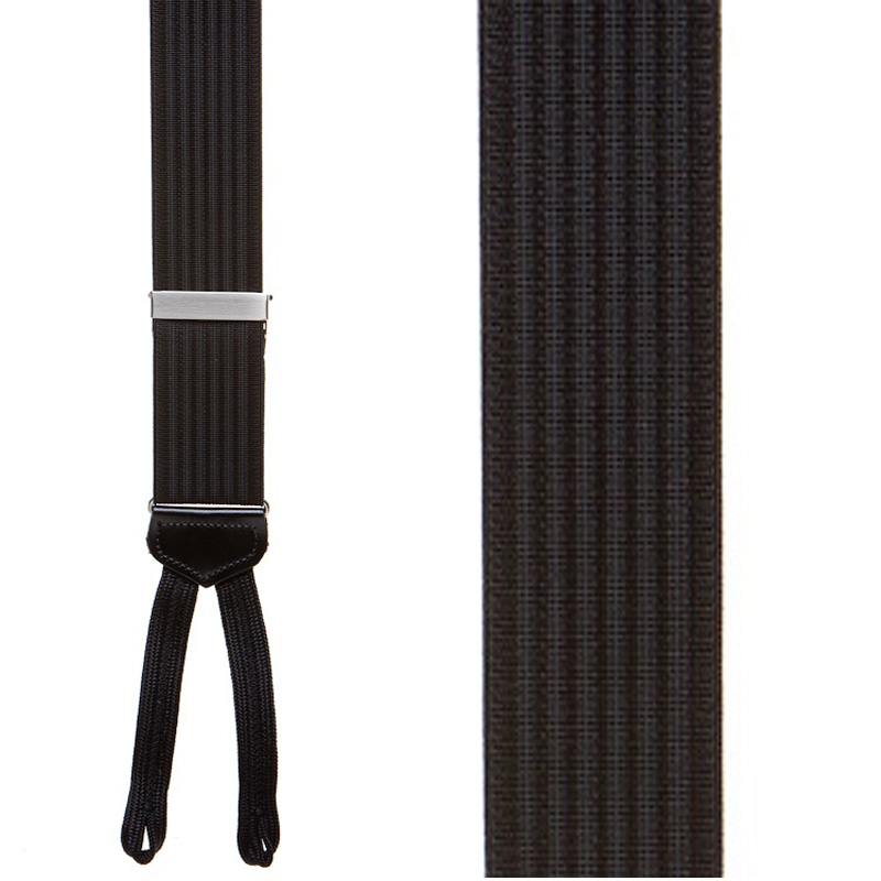 Black Formal Ribbed Suspenders with Runner End - Front View