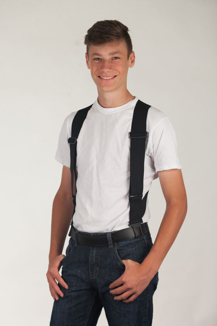 Perry Side Clip Suspenders Model View Front