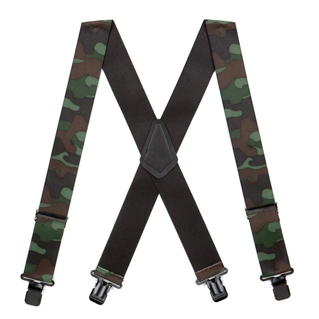 Woodland Camo Suspenders - Full View