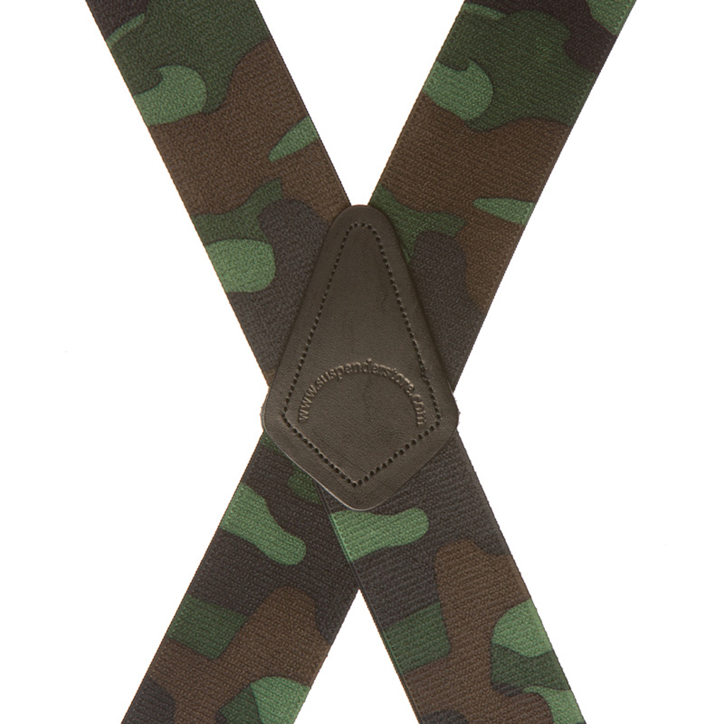 Woodland Camo Suspenders - Rear View