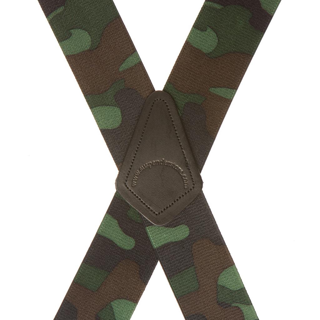 Woodland Camo Suspenders - Rear View