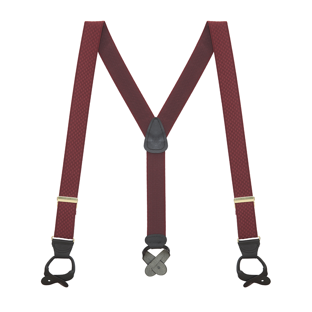 Jacquard Checkered Suspenders in Burgundy - Full View