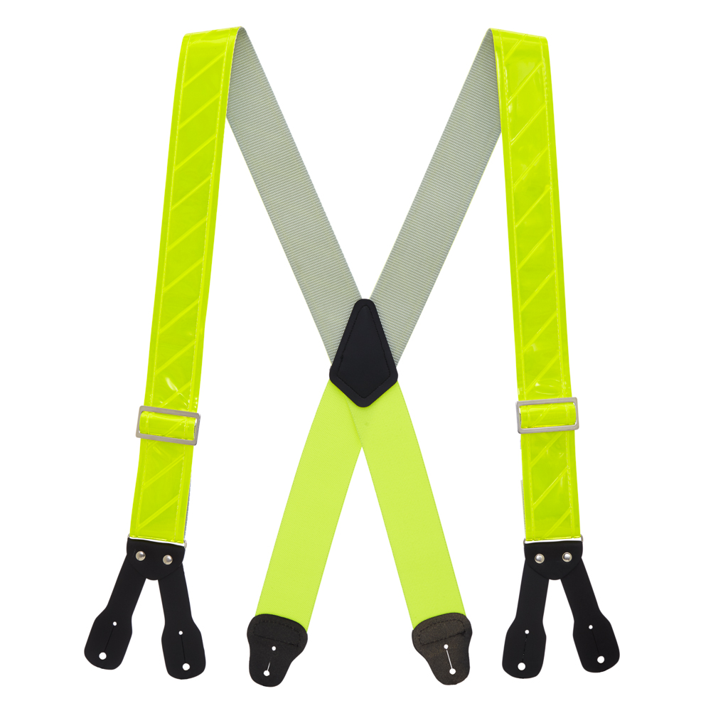 Reflective Logger Button Suspenders - 2 Inch Wide