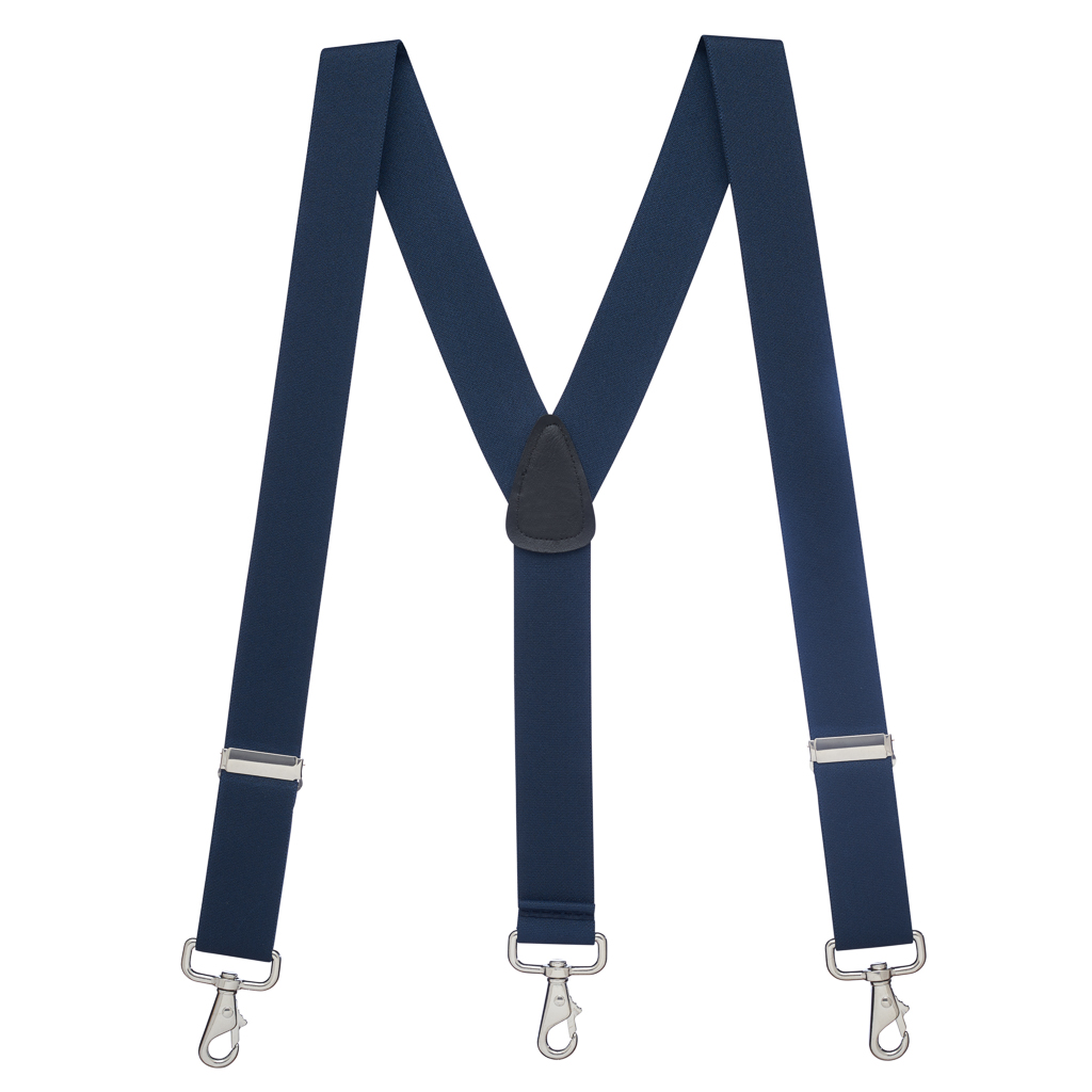 Full View - 1.5 Inch Wide Trigger Snap Suspenders - NAVY