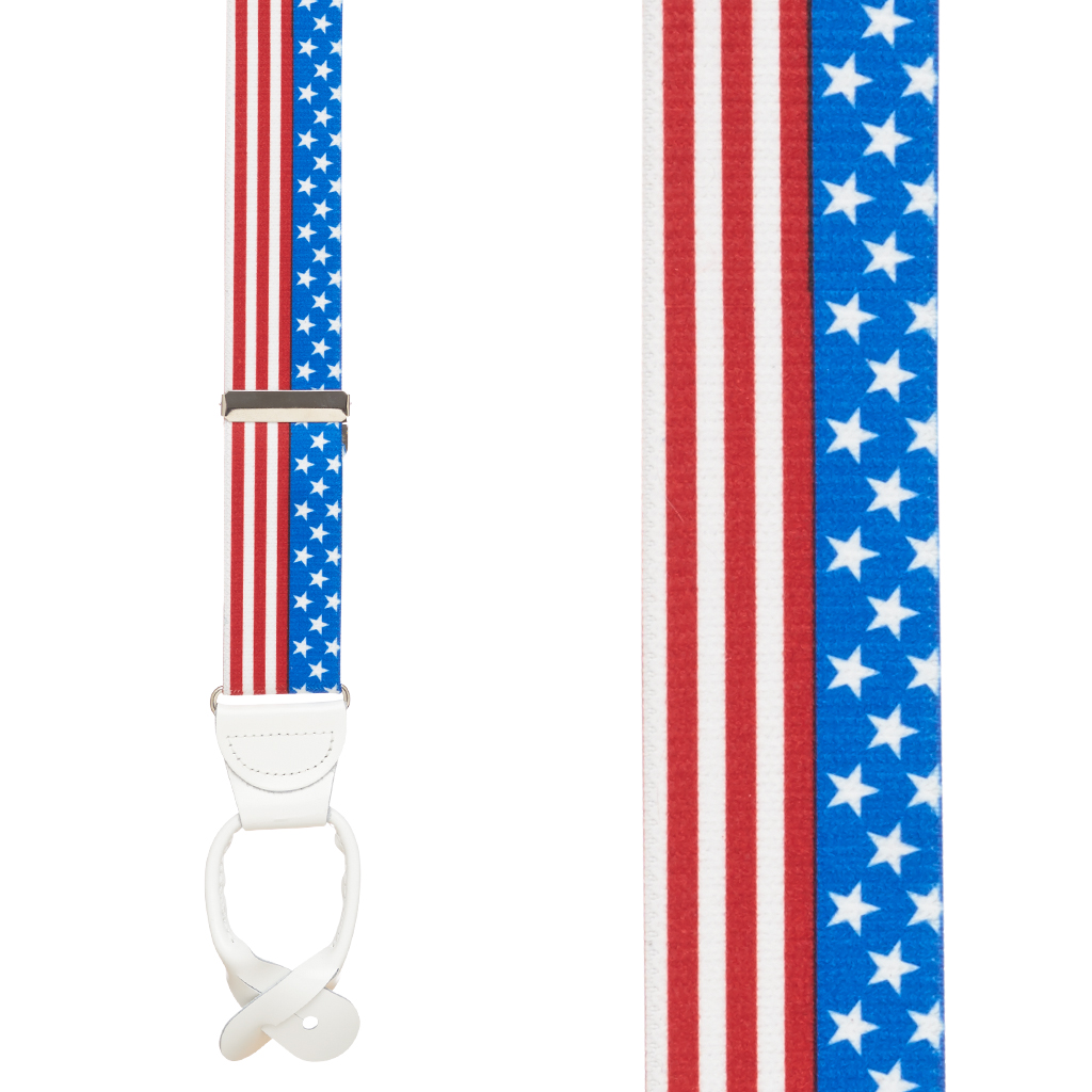 Front View - USA Stars and Stripes Suspenders - 1.5 Inch Wide, Button