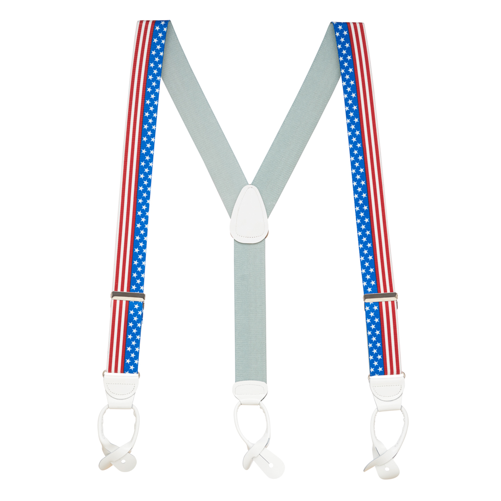 Full View - USA Stars and Stripes Suspenders - 1.5 Inch Wide, Button