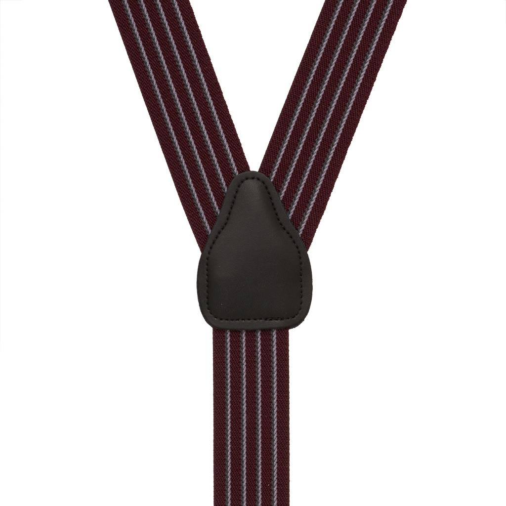 Pinstripe Elastic Suspenders in Burgundy - Rear View