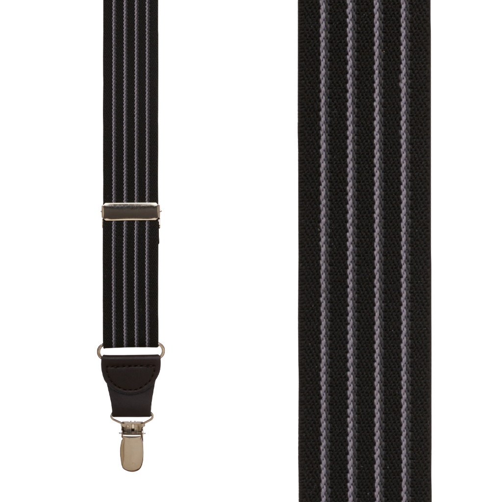 Pinstripe Elastic Suspenders in Black - Front View