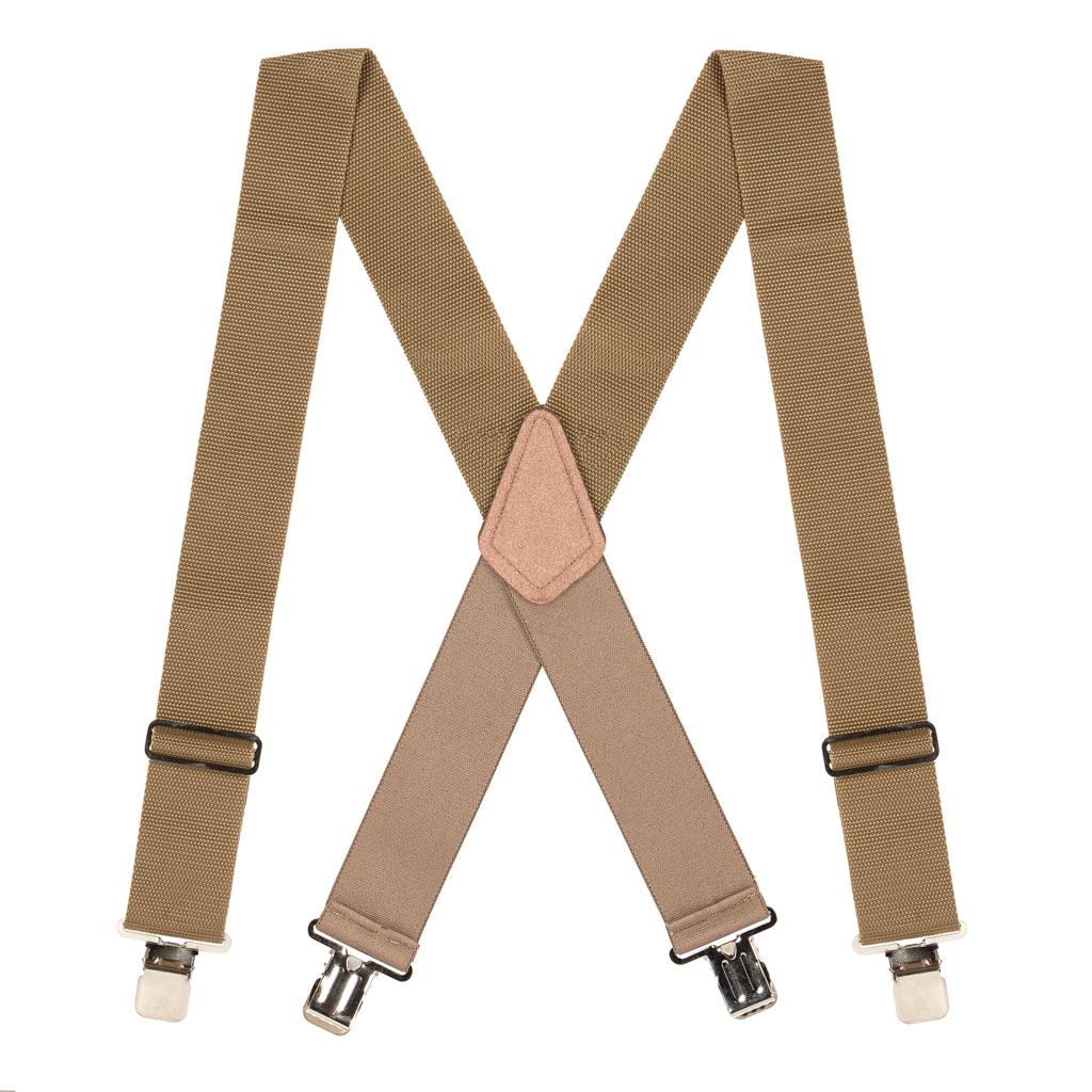 Big & Tall Heavy Duty Work Suspenders in Tan - Full View