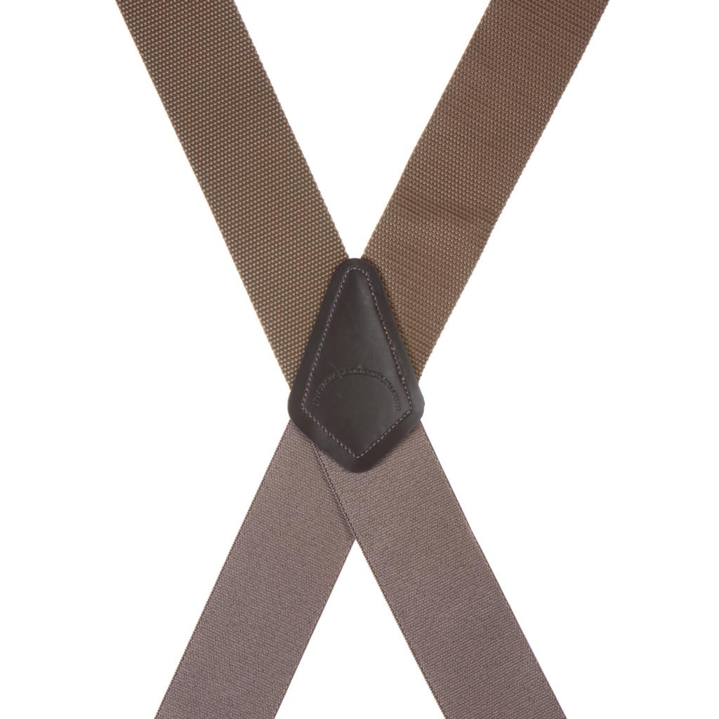 Big & Tall Heavy Duty Work Suspenders in Tan - Rear View