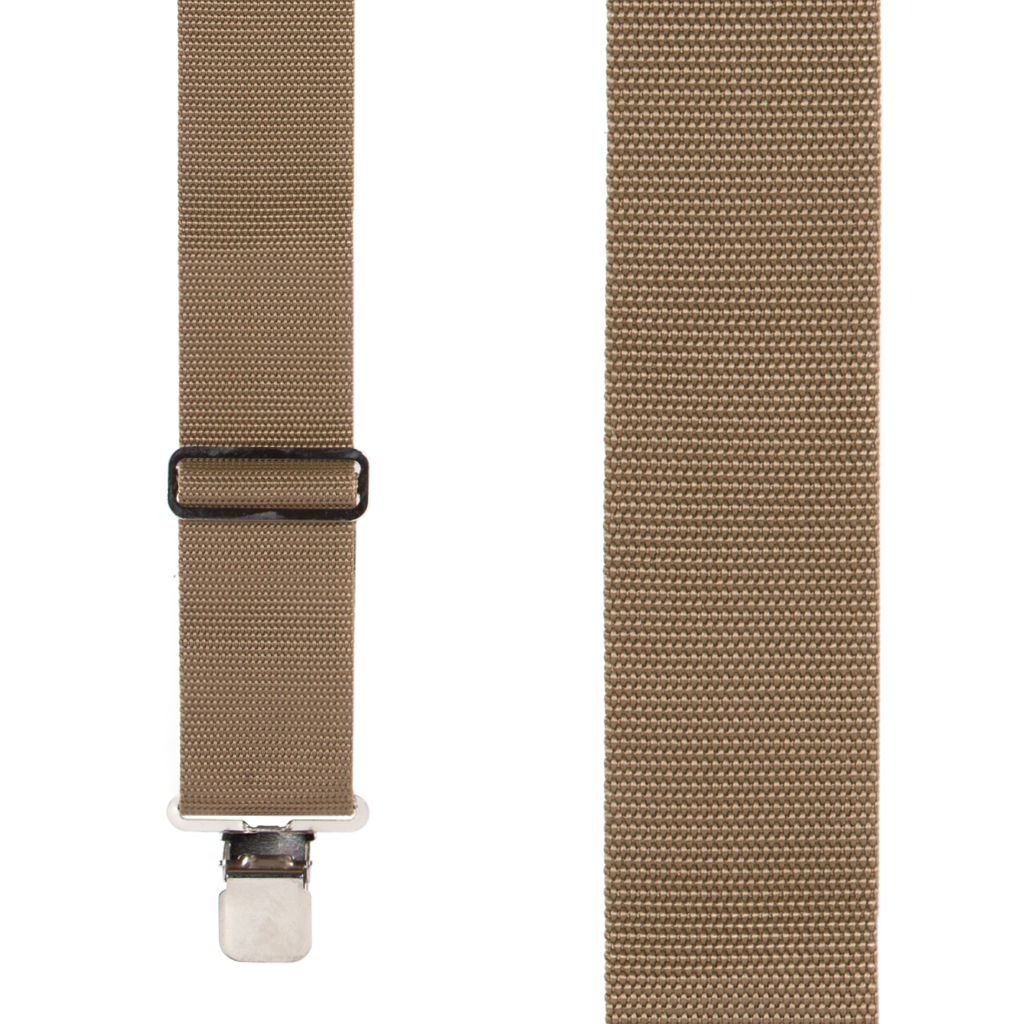 Big & Tall Heavy Duty Work Suspenders in Tan - Front View