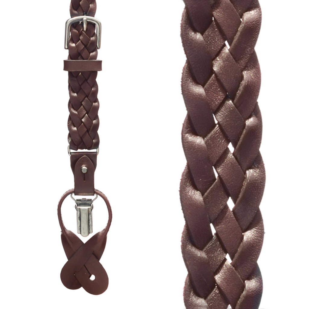 Basketweave Leather Convertible Suspenders - DARK BROWN