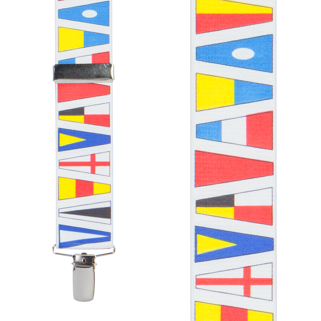 Nautical Flag Suspenders - Front View