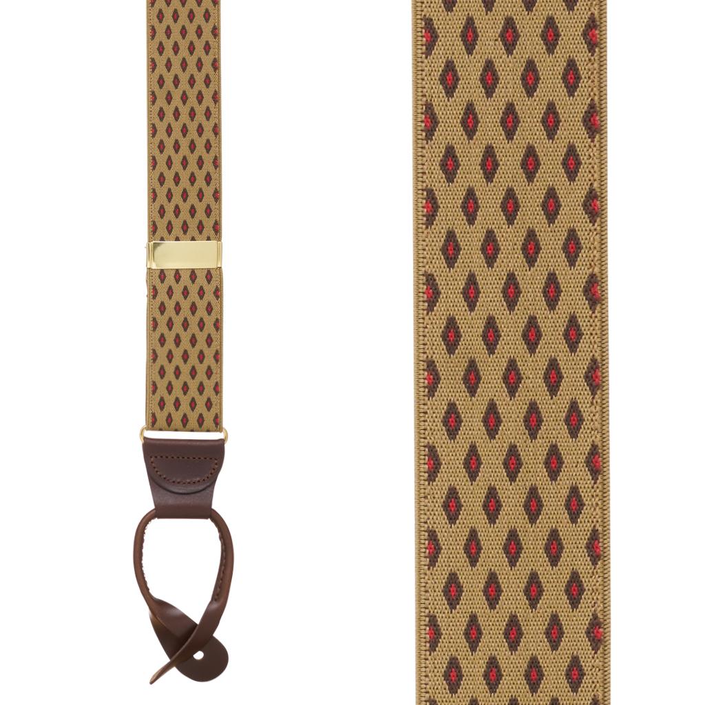 TAN Jacquard Diamond Burst Suspenders - Button - Front View